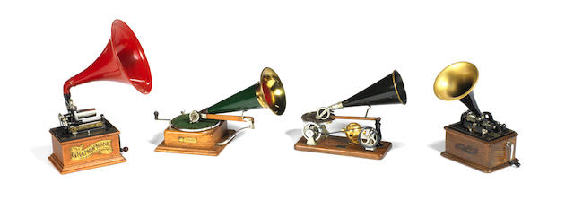 Four 1:4 scale scratch-built limited edition models of early gramophones, by Manuel Olivé Sans, 4