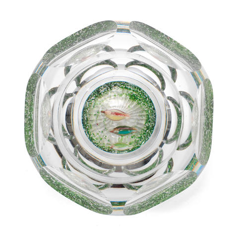 A Baccarat faceted 'Ducks on a Pond' paperweight, circa 1850