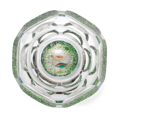 A Baccarat faceted 'Ducks in a Pond' paperweight, circa 1850 PLEASE CONTACT THE VENDOR IF THE ESTIMATE NEEDS TO BE ADJUSTED circa 1850