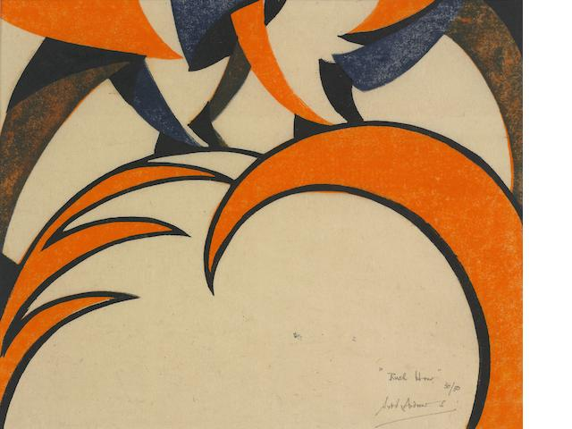 Sybil Andrews CPE (British/Canadian, 1898-1992) Rush Hour Linocut printed in Chinese orange, Chinese blue and black, 1930, a vivid impression, on thin cream oriental laid, signed, titled and numbered 30/50 in pencil, with margins, 209 x 251mm (8 1/4 x 9 7/8in)(B)