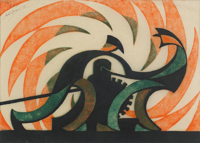 Sybil Andrews CPE (British/Canadian, 1898-1992) The Winch Linocut printed in Chinese orange, viridian, and dark blue, 1930, a vivid impression, on buff oriental laid tissue, signed, titled and inscribed 'E.P.5' in pencil, an experimental proof before the numbered edition of 50, with margins, 184 x 284mm (7 1/4 x 11 1/4in)(B)