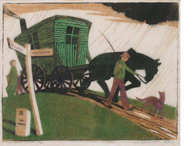 Ethel Spowers (Australian, 1890-1947) The Rain Cloud Linocut printed in yellow ochre, viridian, black and mauve, 1931, on buff oriental laid tissue, signed, titled, dated and numbered 20/30 in pencil, with margins, 207 x 266mm (8 1/8 x 10 1/2in)(B)