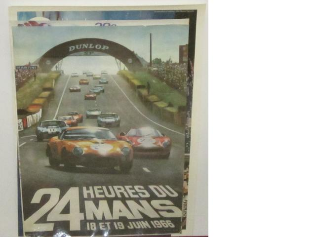 Two Monaco Grand Prix and Two 24 Heure du Mans posters,