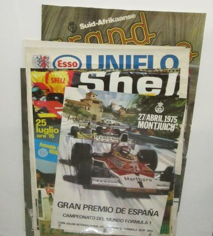 Sixteen motor racing posters,
