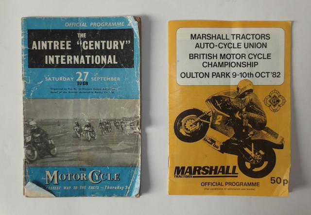 Two motorcycle race programmes signed by various riders,