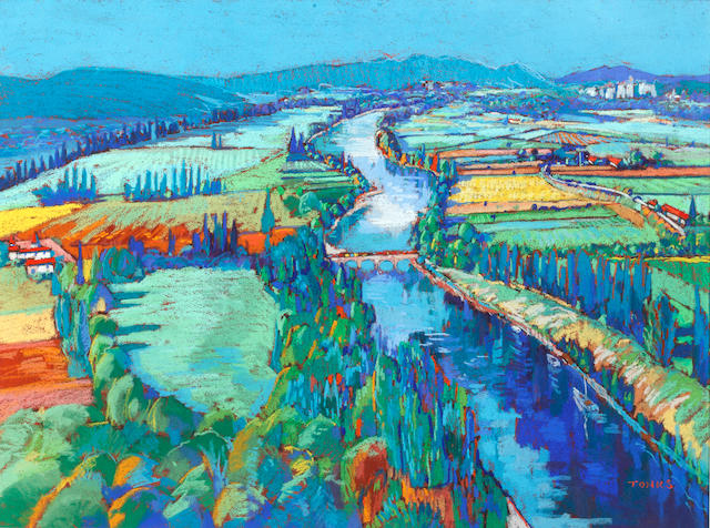 Godfrey Tonks (British, born 1948) The Valley of the Dordogne