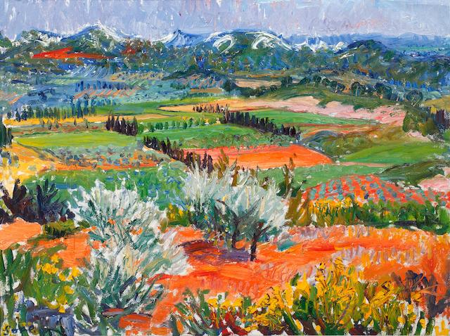 Frederick Gore C.B.E, R.A (British, 1913-2009) Summer landscape