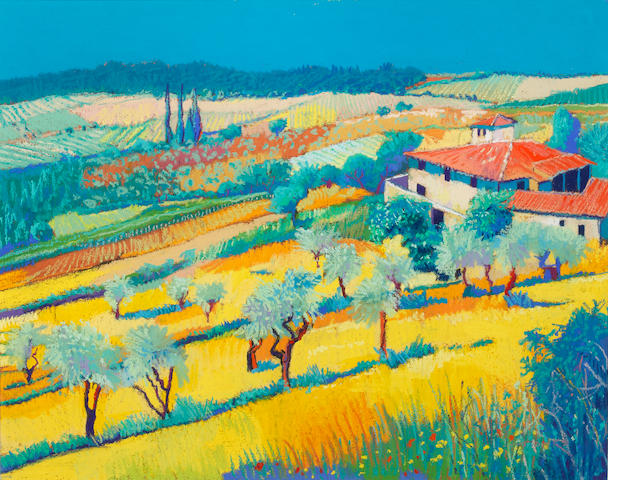 Godfrey Tonks (British, born 1948) Mediterranean landscape with a farmhouse in the foreground