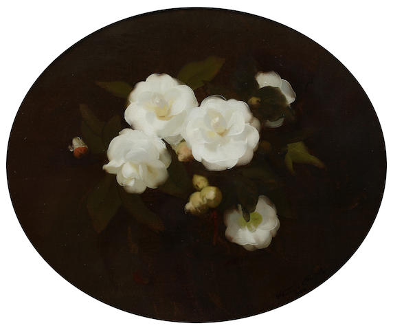 James Stuart Park (British, 1862-1933) White roses , framed as oval