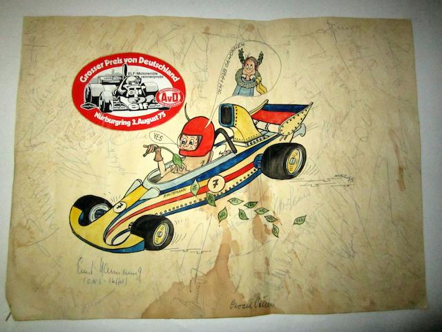 An autographed cartoon of Carlos Reutemann by Maul, dated 1975,