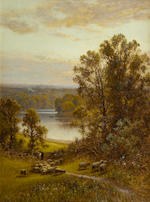 Alfred Augustus Glendening (British, 1840-1921) Sheep grazing; Fishing in a quiet spot, a pair each 40 x 30cm (15 3/4 x 11 13/16in).(2)