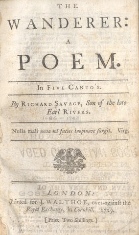 SAVAGE (RICHARD) The Wanderer: a Poem. In Five Canto's, 1729