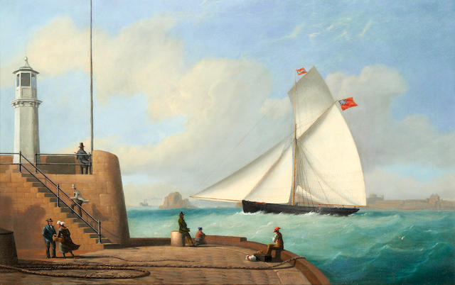 Philip John Ouless (British, 1817-1885) The cutter Eclipse passing the old lighthouse as she enters St. Helier harbour, Jersey