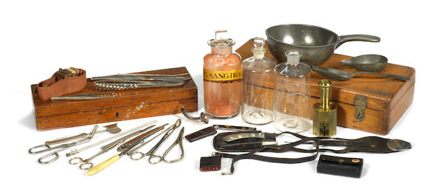 A collection of medical and surveying instruments