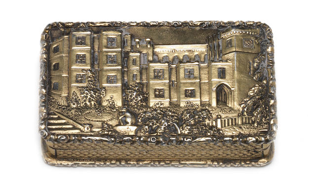 A Victorian silver-gilt castle-top vinaigrette depicting Warwick Castle  by Taylor & Perry, Birmingham 1843  (2)