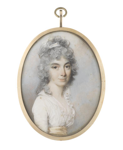 George Engleheart (British, 1750-1829) A Lady, called Miss Topham, wearing white dress with lace trim to her décolleté, yellow sash, her powdered hair curling, partially upswept and dressed with a white bandeau