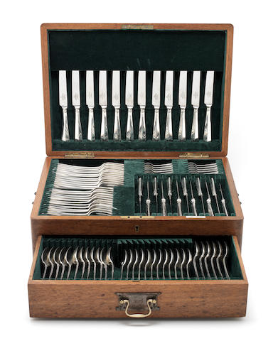 A silver Hanoverian pattern table service of flatware and modern cutlery, contained in a canteen box predominately by Mappin & Webb and John Round & Son Ltd, Sheffield