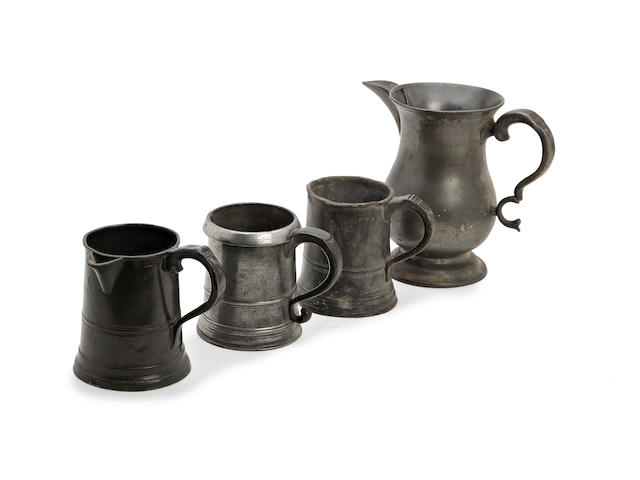A mid-19th century spouted pint pewter measure