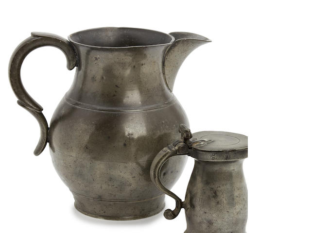 An early 19th century gallon pewter ale jug
