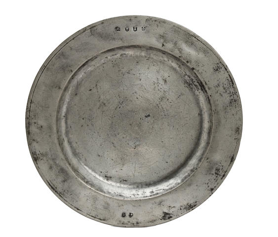 A Charles II single-reed pewter dish, circa 1670