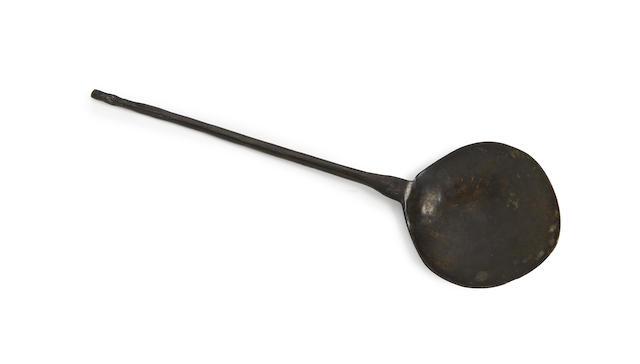 An exceptionally rare Edward I dragon-knop latten spoon, circa 1280