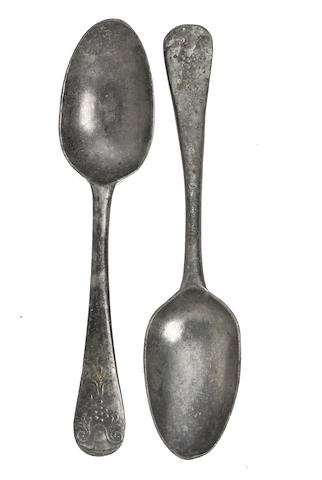 Two similar late 18th century cast decorated pewter spoons, circa 1780