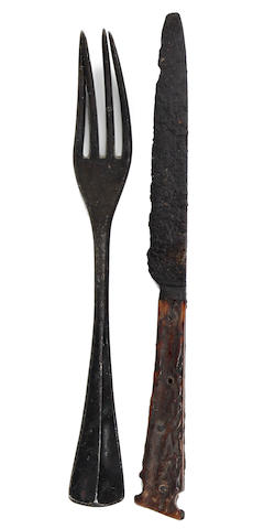 An early 16th century iron and antler table knife, circa 1500 - 1550