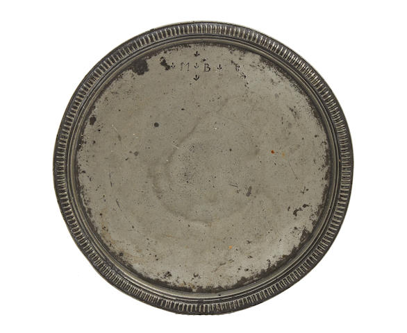 A pewter tazza plate, lacking foot, circa 1690