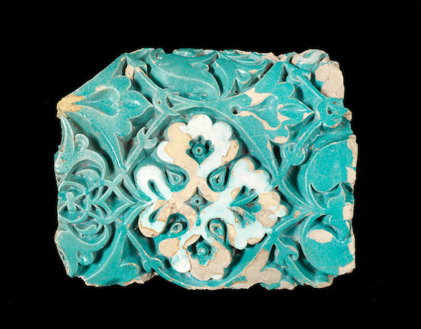 A Timurid carved pottery Tile Fragment Samarkand, 14th Century