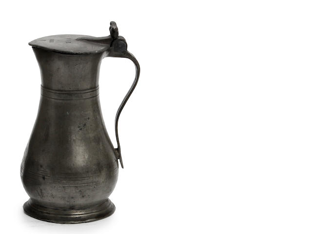 A mid-18th century Guernsey pint lidded pewter measure, circa 1760