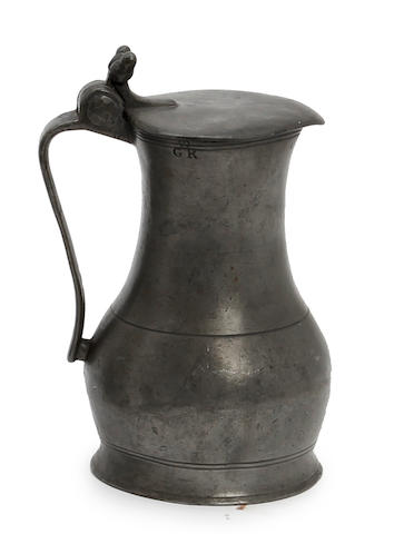 An 18th century Jersey pint lidded pewter measure, circa 1800