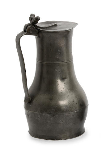 An 18th century Jersey pot lidded pewter measure, circa 1800
