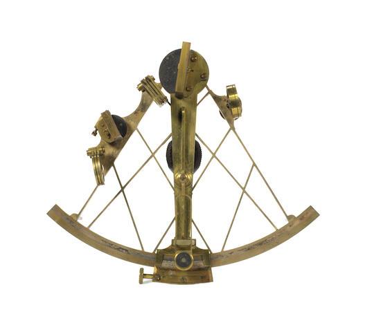 A 19th century 8ins.(20cm) radius brass sextant,