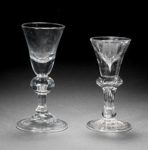A baluster wine glass and a small deceptive wine glass, circa 1715-25