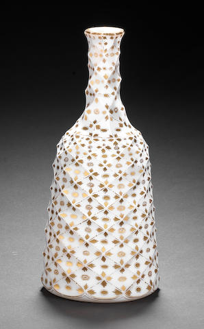 An opaque-white decanter gilded in the Giles workshop, circa 1775