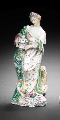 A Bristol (Cookworthy) figure of Asia, circa 1770-74