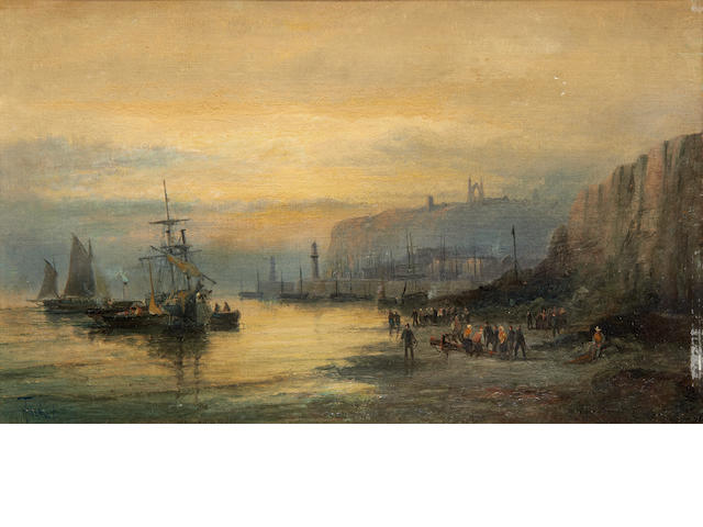 William Thornley (British, 1857-1898) Whitby harbour at Sunset; Scarborough harbour in Moonlight , a pair  (2)