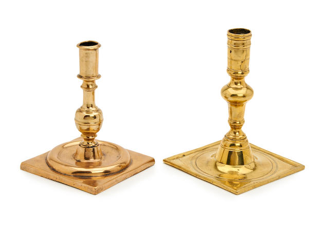 A late 17th century brass square-based candlestick, Spanish, circa 1690