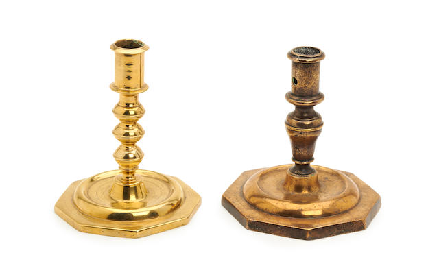 A late 17th century octagonal-based candlestick, Spanish