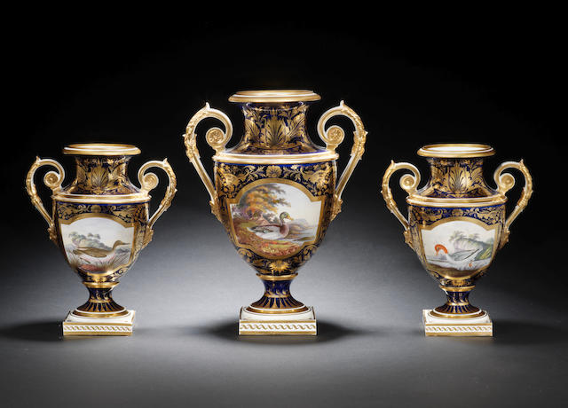 A fine garniture of three Derby vases, circa 1825