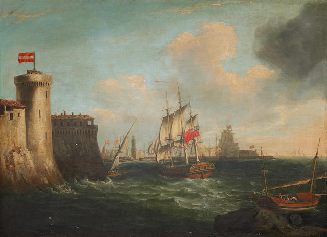 John Thomas Serres (British, 1759-1825) Vessel entering Livorno (Leghorn) harbour