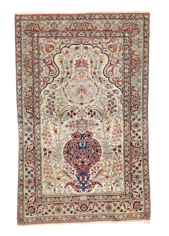 An Isfahan prayer rug, Central Persia, 210cm x 132cm