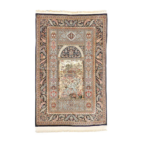 A fine part silk Isfahan rug, Central Persia, 230cm x 150cm, signed.