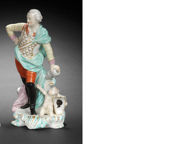 A rare Derby figure of Field Marshal Conway, circa 1765