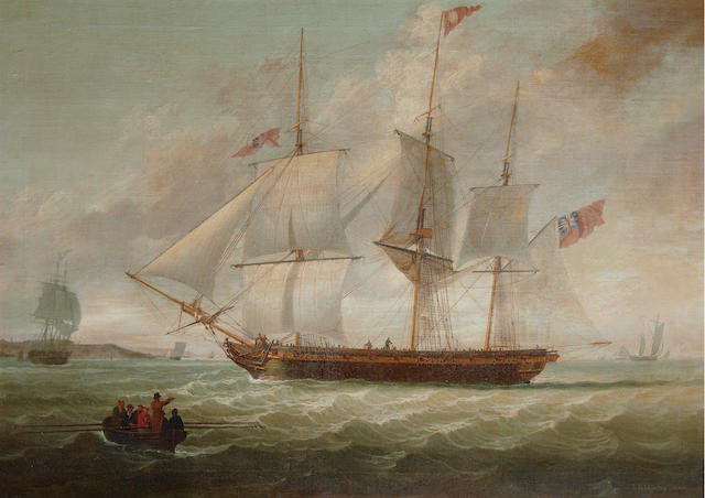 John Jenkinson (British, active 1780-1820) A three-masted armed merchantman, possibly a privateer, heaving-to in the Mersey to take on a pilot