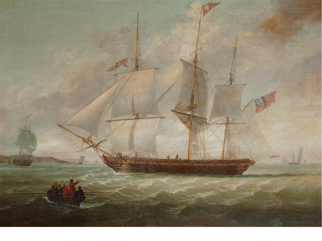 John Jenkinson (British, active 1780-1820) A three-masted armed merchantman, possibly a privateer, heaving-to in the