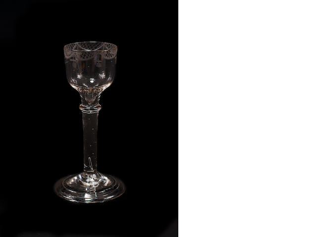 A plain stem wine glass, circa 1760
