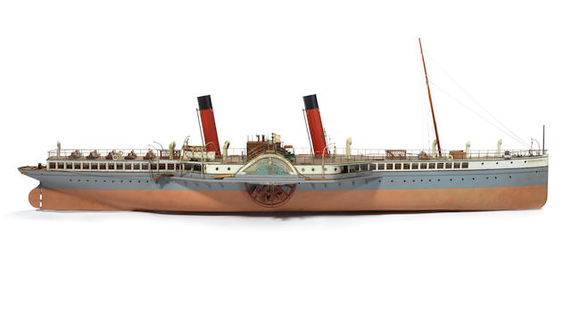 A large cased model of the Clyde Passenger steamer Glen Sannox 1892 68x28x20ins. (173x71x51cm)