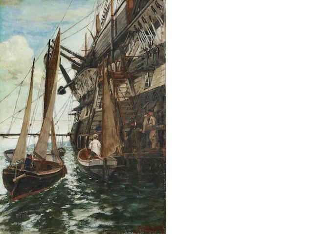 Charles Napier Hemy, RA RWS (British, 1841-1917) H.M.S. Ganges