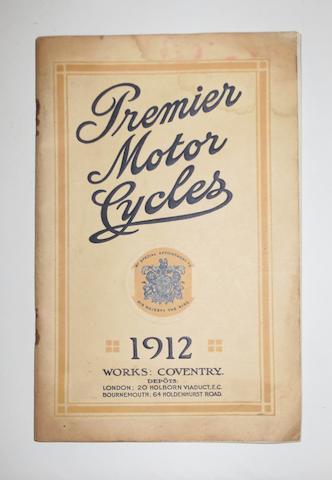 A 1912 Premier Motor Cycles range brochure,